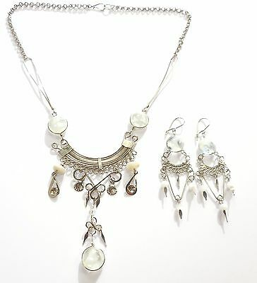 Peru Ethnic Clear Glass Alpaca Silver Necklace Earrings Set Handmade Love Knot