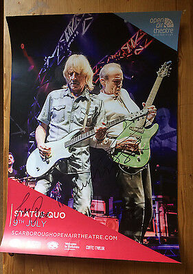 Status Quo  Autographed Poster A3 Size Full Colour Open Air Theatre Scarborough