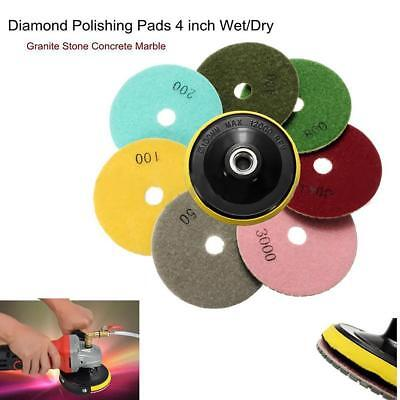 7pcs 4'' 100mm Diamond Polishing Pads Wet/Dry Granite Stone Concrete Marble