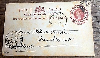 1888 Postcard And Queen Victoria Stamp From South Africa  Cape Of Good Hope