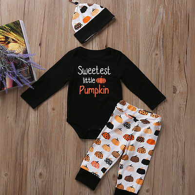 3PCS Set Newborn Toddler Baby Boys Halloween Clothes Romper Pants Hat Outfits UK