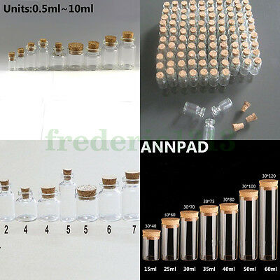 Wholesale Lots 0.5ml--60ml  Small Empty Clear Glass Bottles Vials with Cork