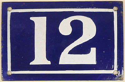 Old blue French house number 12 door gate plate plaque enamel metal sign c1950