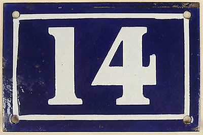Old blue French house number 14 door gate plate plaque enamel metal sign c1950