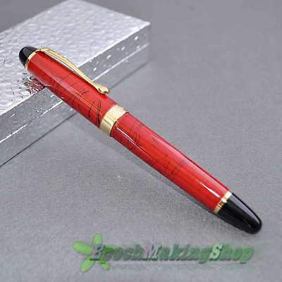 JINHAO X450 CORAL RED STRIPES  Medium nib FOUNTAIN PEN new