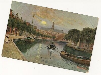 Old Postcard-HAARLEM-CANAL VIEW-Posted 1906.