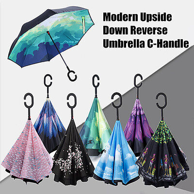 Ombrello Upside Down Inverted Umbrella Reverse C-Handle Windproof Inside-Out