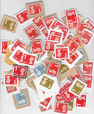 100 x 1st first Class large Royal Mail Stamps on Paper Unfranked
