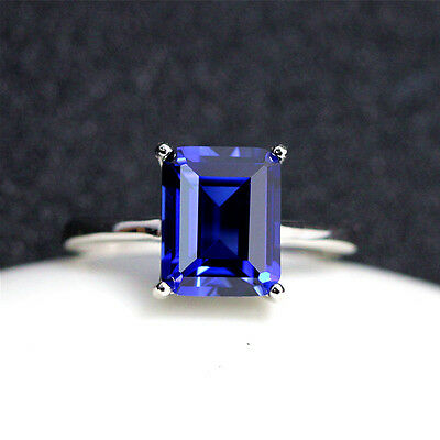 Unheated Blue Rectangular Sapphire Gems 7.26ct AAA 9x11MM Loose Gemstone Jewelry