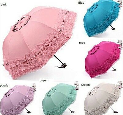 Cream Lace Trimmed Dome Shaped Umbrella/Parasol Weddings Fancy Dress Brolly