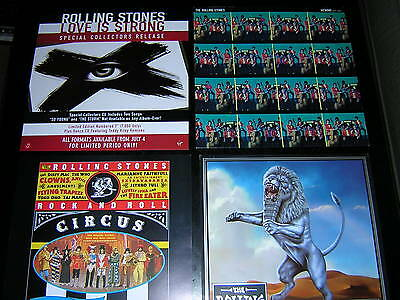 "Rolling Stones Album Sleeve + 3 Promotional 12""x12"" Cards"