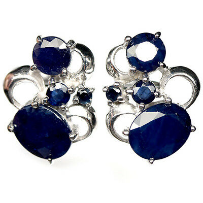 Awesome! Natural! Deep Blue Sapphire Sterling 925 Silver Earrings White Gold