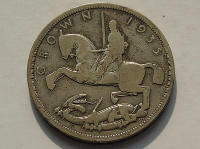 George V 1935 Jubilee Silver Crown Coin Rocking Horse S4048, Worn / Circulated