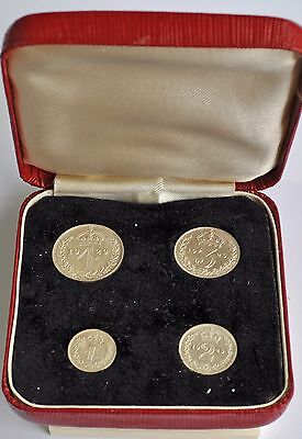 1929 Maundy Set, British Silver Coins From George V, Cased Bu, Prooflike