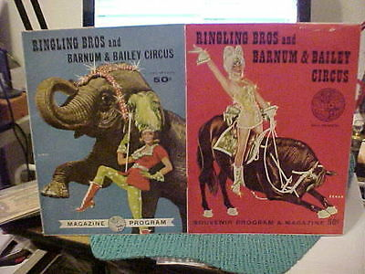 2 RINGLING BROS AND BARNUM & BAILEY  NOS 1963-1964 CIRCUS PROGRAMS +GREAT ADDS z