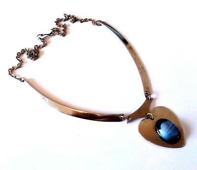 c.1970s Stylish STEEL HEART NECKLACE Blue Glass MODERNIST STYLE Unusual Silver