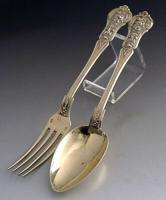 QUALITY FRENCH STERLING SILVER GILT FORK AND SPOON SET c1900 ANTIQUE