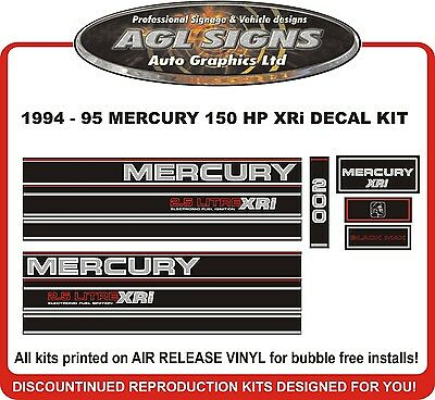 1994 1995 MERCURY 200 hp XRi  2.5 Litre Outboard Decals reproduction 150 hp also