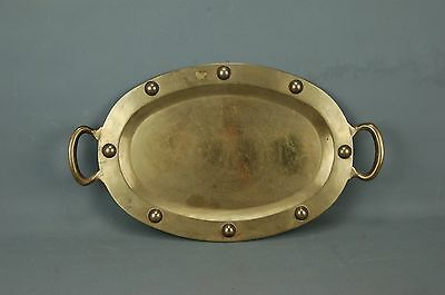 "vintage Modern Arts & Crafts hand wrought Brass Oval Serving TRAY PLATTER 20""L"