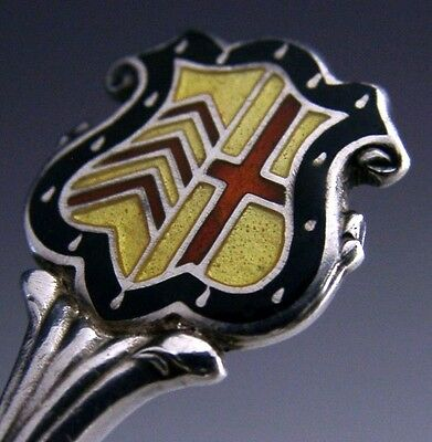 Cambridge University Sterling Silver Enamel Clare College Crest Teaspoon 1937