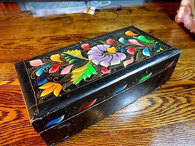 Old Tole Painted Wood Box