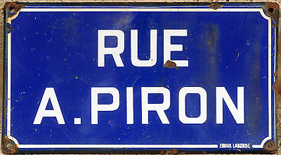Old French enamel steel street sign road plaque name Rue Alexis Pilon Chalesmes