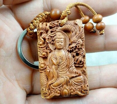 45*28MM Hand-carved Buddha Dragon Wooden Crafts, Key Chain, Key Ring D6