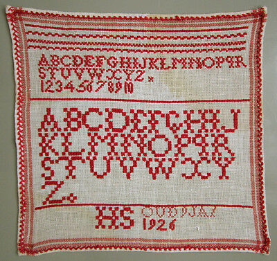 1926 Vintage Dutch Red Alphabet Sampler Cross Stitch Needlework Signed 'h S'