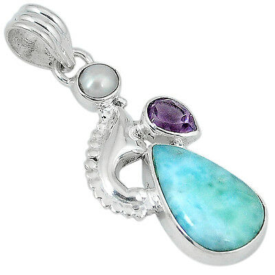 Natural blue larimar purple amethyst 925 sterling silver pendant jewelry k11849