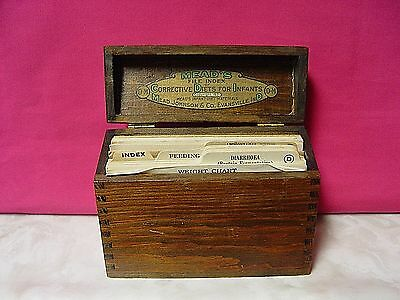 Vintage 1921 Wooden Box Meads File Index Corrective Diets For Infants Baby