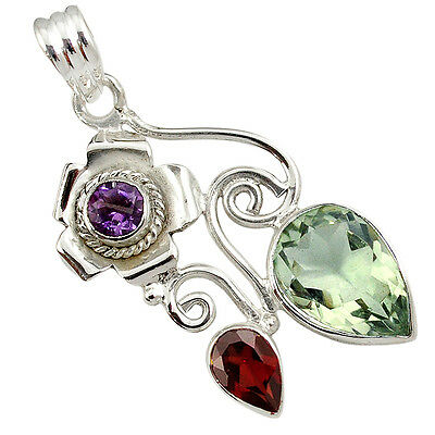 Natural Green Amethyst Garnet 925 Sterling Silver Pendant Jewelry J1243