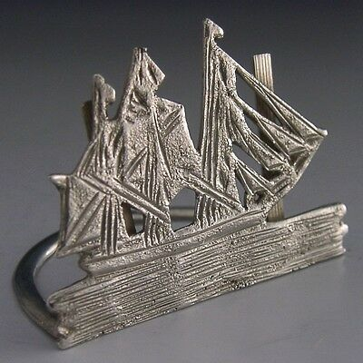 Novelty English Edwardian Sterling Silver Ship Menu Holder 1903 Antique