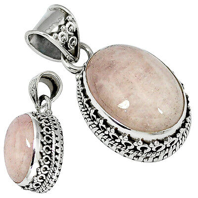 Natural pink morganite oval 925 sterling silver pendant jewelry k27812