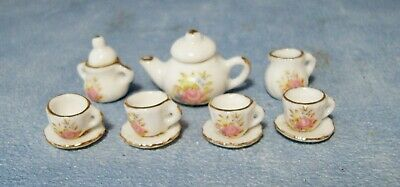 1:12 Scale Ceramic 11 Piece White & Pink Floral Tea Set Tumdee Dolls House 2186