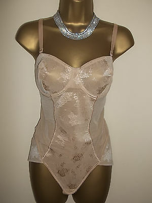 Vintage Style BHS Stretchy Ultra Sheer Nylon Bodyshaper Pantie Corselette 38C