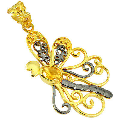 925 Silver Natural Yellow Citrine Black Rhodium Gold Dragonfly Pendant K31119
