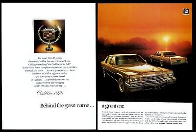1978 Cadillac Fleetwood Brougham car 2 color photo print ad