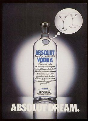 1983 Absolut Dream vodka bottle thinking of martini glasses vintage print ad