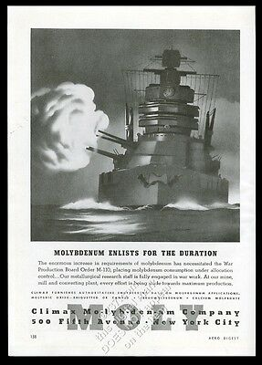 1942 WW2 battle ship art moderne guns firing pic Climax Molybdenum print ad