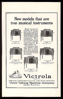 1922 Nipper art Victor Victrola 5 models photo vintage print ad