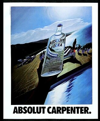 1990 Absolut Carpenter Jeff Carpenter vodka bottle art vintage print ad