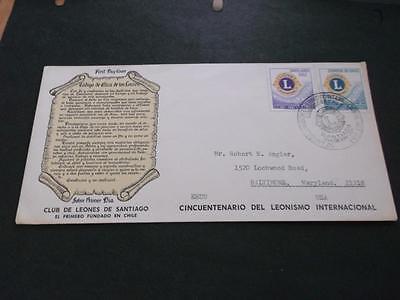 CHILE 1967 FDC COVER TO USA LIONS CLUB 50th ANNIVERSARY CANCELLED  RS