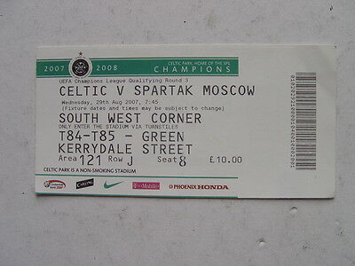 Celtic v Spartak Moscow 2007/08 Champions League Ticket