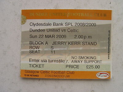 Dundee United v Celtic 2008/09 SPL March Ticket