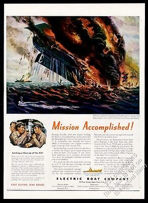 1944 US Navy sub submarine sinks Japanese carrier art ELCO ELBO vintage print ad