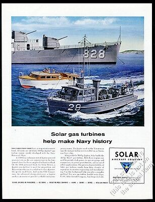 1957 USS Timmerman & other US Navy boat art Solar engines vintage print ad