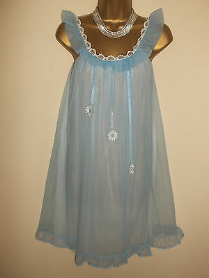 Vintage 1960s Double Layer Nylon Lacy Mini Babydoll Nightie Negligee Gown 36""