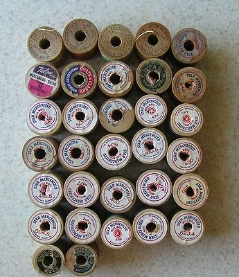 Lot of 30 Wooden Spools of Thread