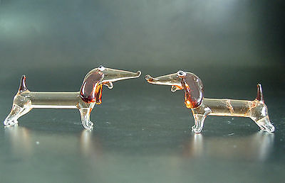 2 Tiny Glass DACHSHUND DOGS, Puppys, Red Stained Painted Glass Animals,Ornaments