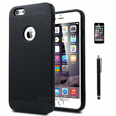 """Rugged Rubber Hard Shockproof Cover Case for Apple iPhone 6 Plus 5.5"""" Black"""